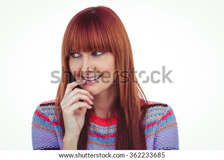 Portrait of a smiling hipster woman against white background