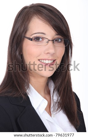 Portrait of a smiling job applicant on white background - stock photo