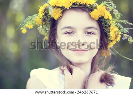 Portrait of a smiling little girl - stock photo