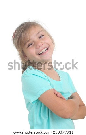 portrait of a smiling little girl on a white background - stock photo