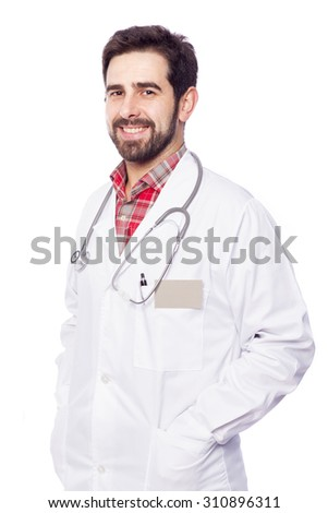 Portrait of a smiling male doctor, isolated on white background - stock photo