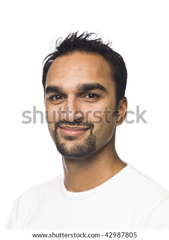 Portrait of a smiling man isolated on a white background
