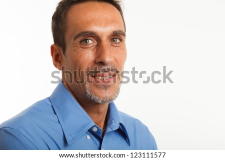 Portrait of a smiling man. Isolated on white