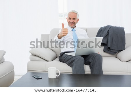 Portrait of a smiling mature businessman with laptop gesturing thumbs up on sofa in living room at home