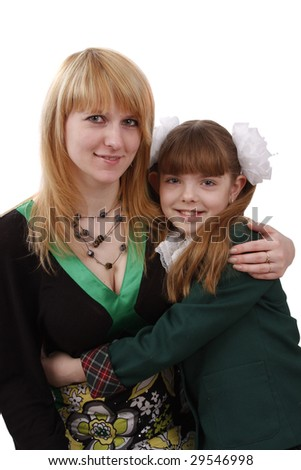 Portrait of a smiling mother and teenage daughter. Woman and school girl. - stock photo