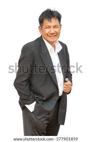 Portrait of a smiling old business man, isolated on white background - stock photo