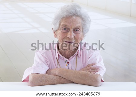 Portrait of a smiling old woman closeup