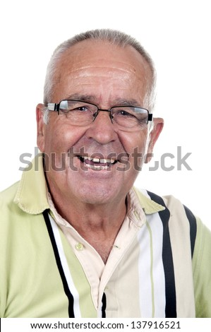 Portrait of a smiling retired old man - stock photo
