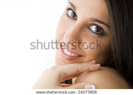 portrait of a smiling seductive young sexy brunette girl - stock photo