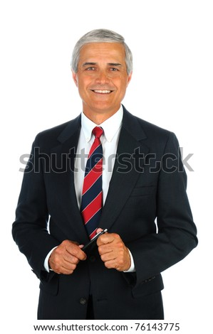 Portrait of a smiling senior business man. Vertical format isolated on white.