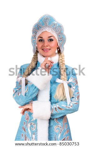 Portrait of a smiling Snow Maiden. Isolated - stock photo