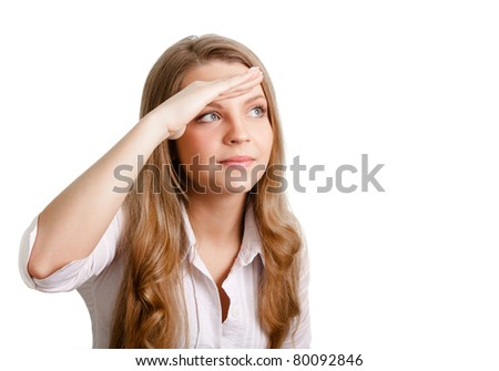 Portrait of a smiling thinking woman looking on copyspace - stock photo
