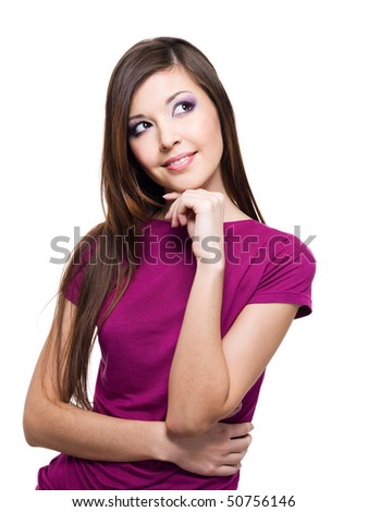 Portrait of a smiling thinking woman looking up - isolated on white - stock photo