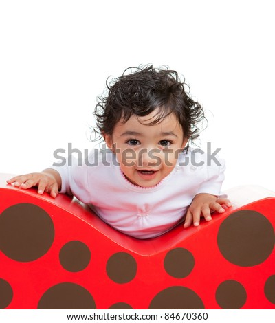 Portrait of a Smiling Toddler Girl, Isolated, White