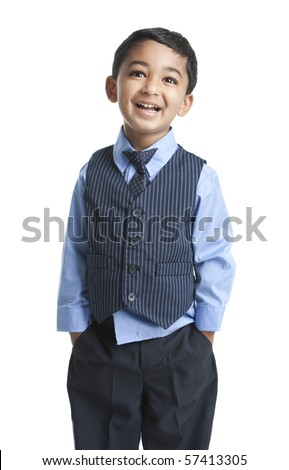 Portrait of a Smiling Toddler in Business Attire - stock photo