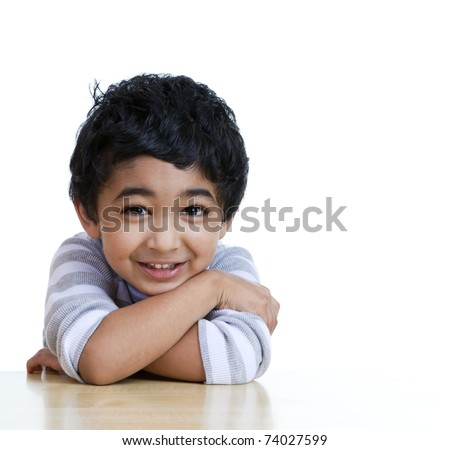 Portrait of a Smiling Toddler, Isolated, White - stock photo