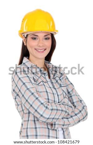 Portrait of a smiling tradeswoman - stock photo