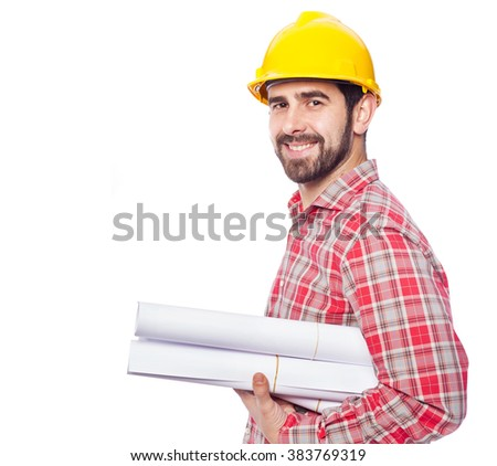 Portrait of a smiling young architect on white background - stock photo