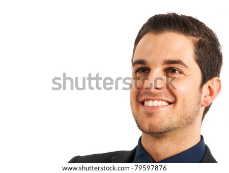 Portrait of a smiling young businessman isolated on white. - stock photo