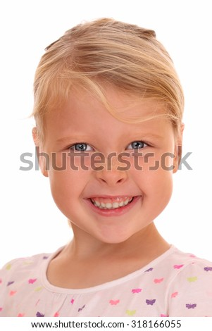 Portrait of a smiling young girl on white background - stock photo