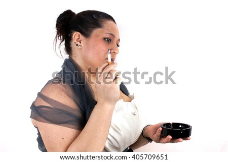 Portrait of a smoking lady on white background