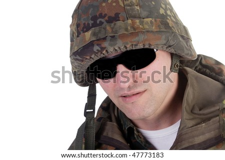 Portrait of a soldier wearing dark glasses (isolated on white)