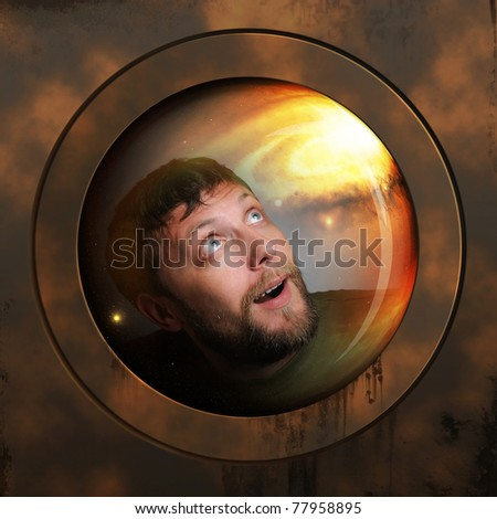 Portrait of a spaceman in a spaceship in deep space - stock photo