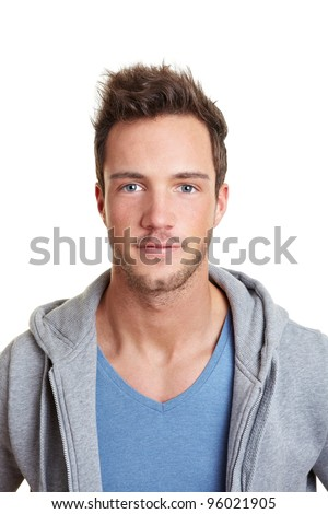 Portrait of a sportive young man isolated on white - stock photo
