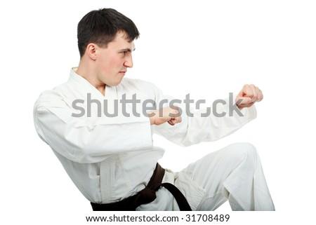 Portrait of a sporty male model. Theme: sport oriental martial art. - stock photo