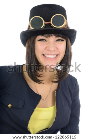 Portrait of a steam punk girl, isolated over white. - stock photo