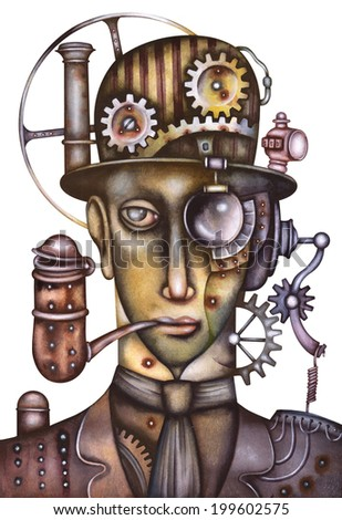 Portrait of a steampunk man - stock photo