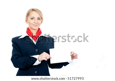 portrait of a stewardess holding a sheet of blank paper isolated on white background - stock photo