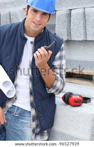 Portrait of a stonemason - stock photo