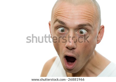 Portrait of a strange looking boy, eyes crossed - stock photo