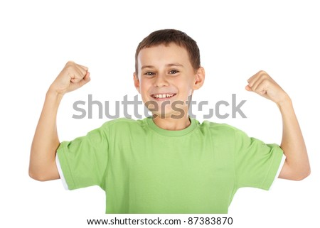 Portrait of a strong child showing off - stock photo