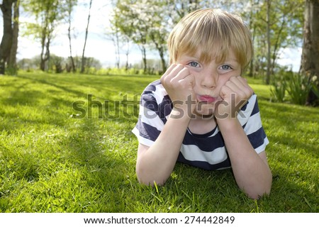 Portrait of a stubborn young boy outside in the garden - stock photo
