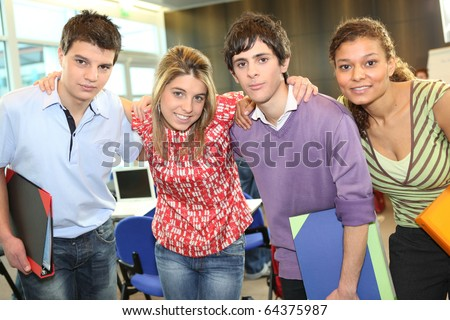 Portrait of a student in classroom - stock photo