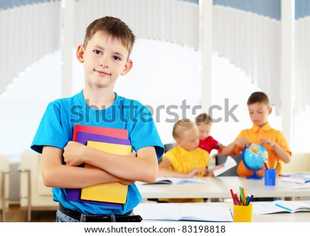 Portrait of a student is in class