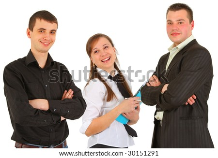 Portrait of a study group on white background - stock photo