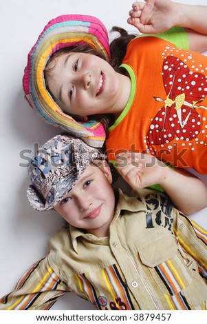 Portrait of a styled children. Theme: education. - stock photo