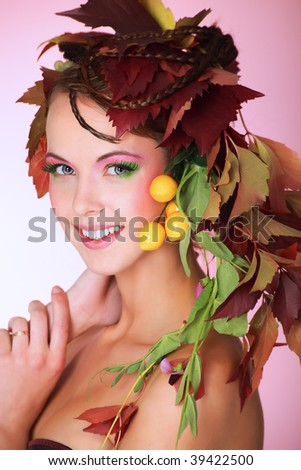 Portrait of a styled professional model. Theme: beauty, autumn fashion - stock photo