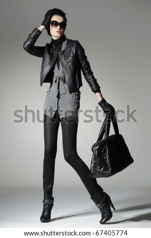 Portrait of a styled professional model. Theme: beauty, fashion catwalk - stock photo