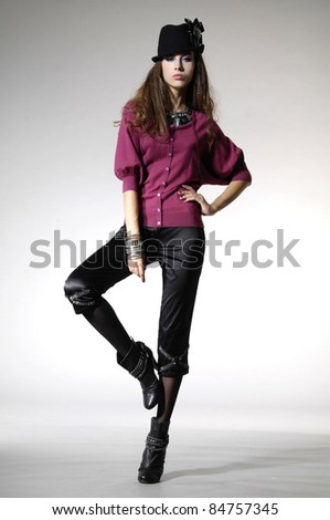 Portrait of a styled professional model. Theme: beauty, posing, fashion catwalk - stock photo