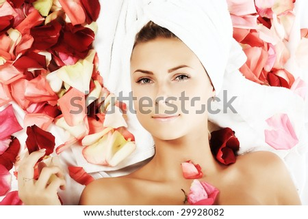 Portrait of a styled professional model. Theme: spa, healthcare, fashion - stock photo
