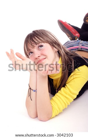 Portrait of a styled professional model. Theme: TEENS, MUSIC - stock photo