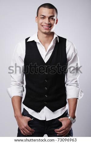 Portrait of a stylish young fashion male model. - stock photo