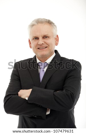 Portrait of a successful and smiling middle-aged businessman - Isolated Image