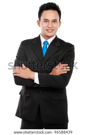 Portrait of a successful business man in the office - stock photo