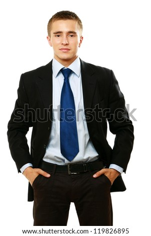 Portrait of a successful businessman , isolated on white background - stock photo
