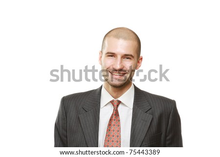 Portrait of a successful businessman on white - stock photo
